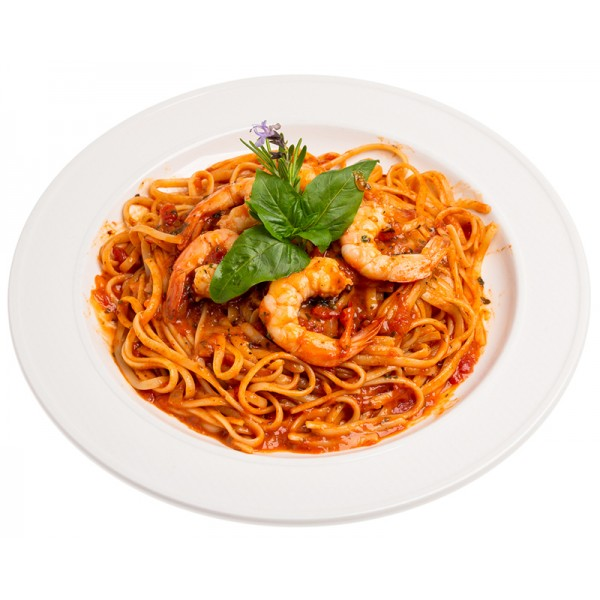 Spaghetti with shrimps