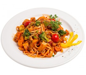 Spaghetti with fresh vegetables