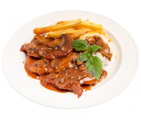 Fillets sauce madera with mushrooms